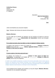 lettre de d 233 mission du tr 233 sorier d une association de