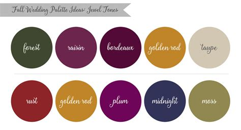 jewel tones colors lauren rachel inspired by nature fall wedding palette ideas