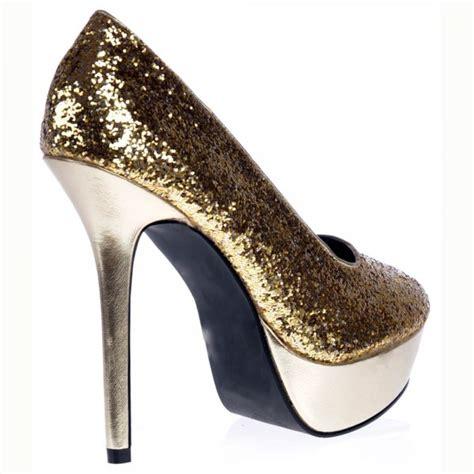 silver and gold high heels shoekandi platform high heels glitter and metallic
