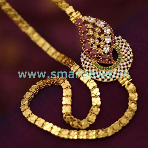 design is one online sc6797 latest one gram 24 inches chain ruby emerald