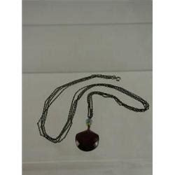 estate jewelry, 1930 sterling with ruby red pendant necklace