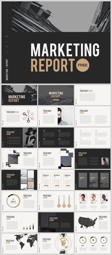 grid layout marketing marketing report template powerpoint publication