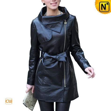 s zipper black leather jacket with belt cw676121