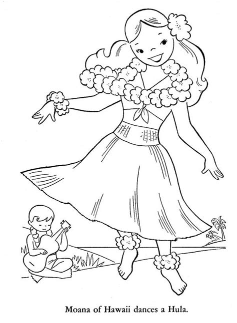 hawaiian princess coloring pages moana of hawaiian dances a hula coloring page netart
