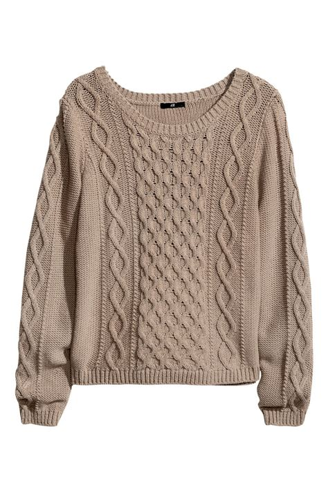 Hm Sweater Invert Fit Xl cable knit sweater taupe sale h m us
