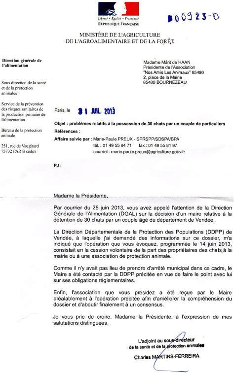 Lettre De Remerciement Directeur Nos Amis Les Animaux N A L A 85480