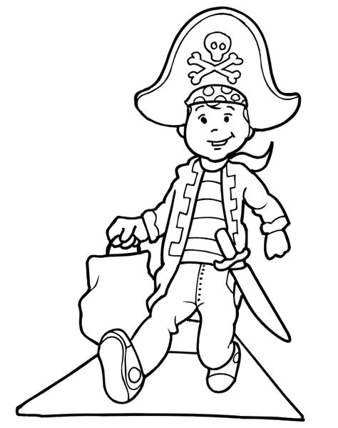 pirate coloring page kid trick or treats in pirate costume