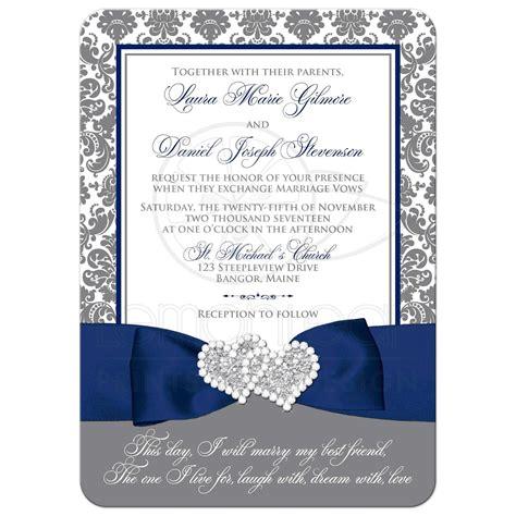 Wedding Invitations Blue by Navy Blue White And Gray Damask Wedding Invitation