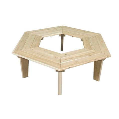 hexagon shaped tree bench