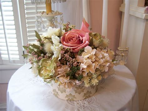 beautiful shabby chic garden silk flower arrangement in