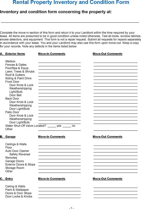 inventory for rental property template rental property inventory and condition form for