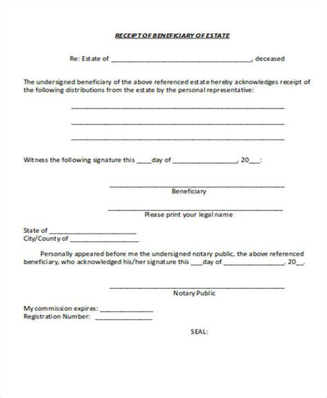 Or Release Beneficiary Receipt And Release Form