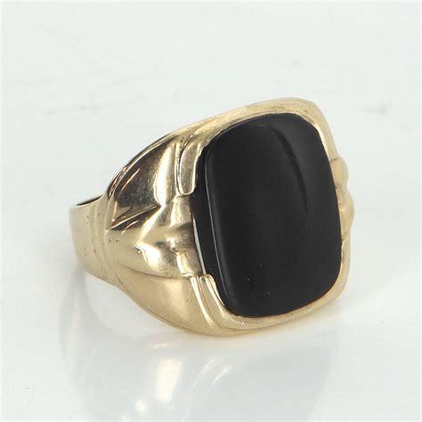 mens onyx signet ring vintage 10k yellow gold estate