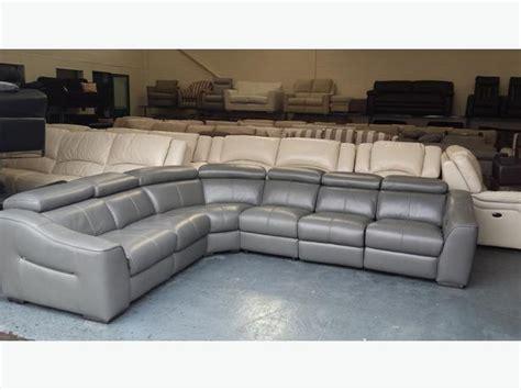 grey leather corner sofa ex display elixir elephant grey leather electric recliner