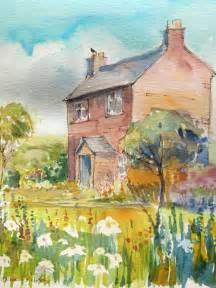 cottage garden paintings original watercolour painting cottage garden signed