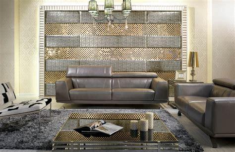 Grey Shiny Leather Modern Sofa Set