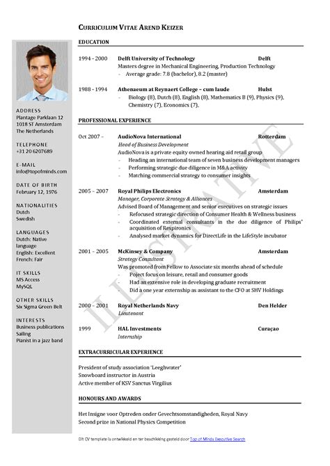 Download Layout Cv | free curriculum vitae template word download cv template