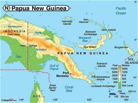 world map papua new guinea papua new guinea physical map by maps from maps