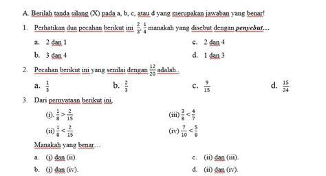 contoh soal ulangan harian matematika kelas vii pecahan