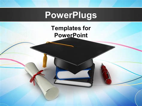 Powerpoint Template School Graduation Cap With Degree Graduation Powerpoint Background
