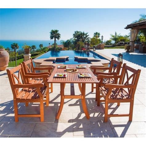 5 patio set 5 wood patio dining set v189set6