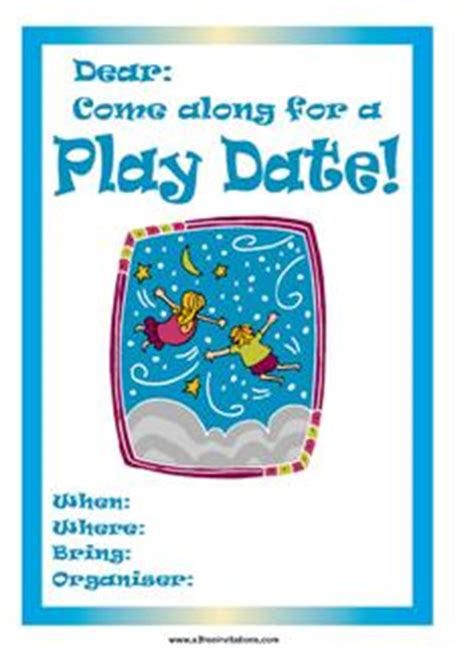 playdate cards printable template play date invite blue flying children images frompo
