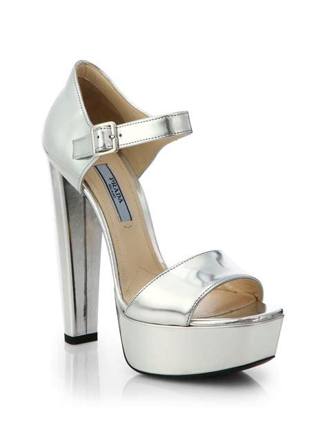 silver platform sandals prada metallic leather platform sandals in silver argento