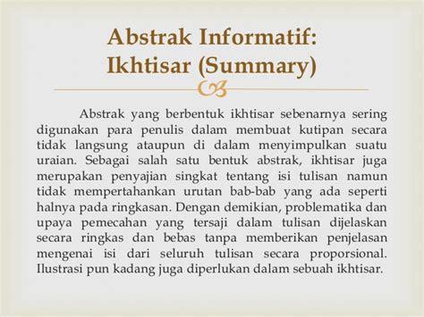 urutan membuat abstrak makalah bahasa indonesia
