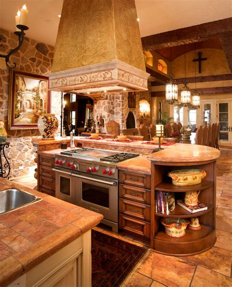 Country Style Kitchen Island Mullet Cabinet Mediterranean Tuscan Style Kitchen
