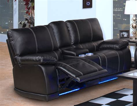 Black Leather Reclining Sofa Black Leather Power Rocker Reclining Loveseat With Led Light Underneath And Console Of