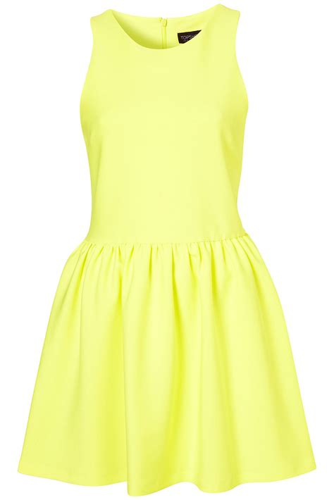 Dress Yellow Scuba topshop scuba skater dress in yellow fluro yellow lyst