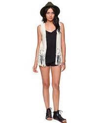 Black Fringed Sleeveless Top Size Sml 12740 la hearts crochet fringe vest where to buy how to wear