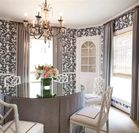 Pretty Dining Rooms by Shantung Silhouette Wallpaper Transitional Dining Room Chandos Interiors