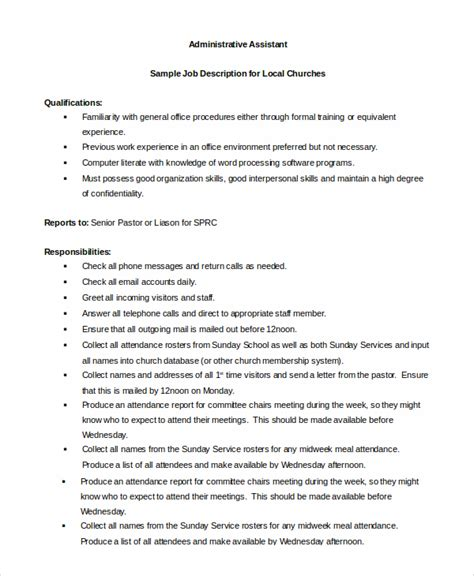 administrative assistant description sle administrative assistant description