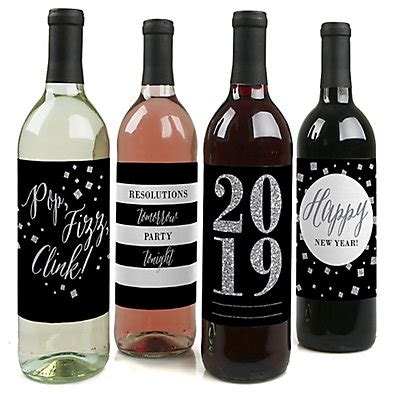 new year 2018 images with rose and wine decuration new year s silver wine bottle label stickers bigdotofhappiness