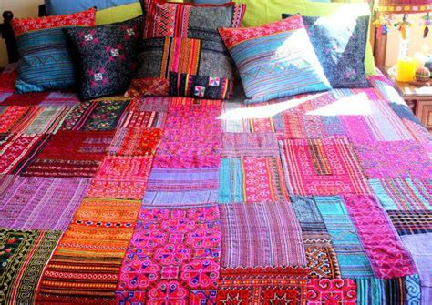 Batik Patchwork Bed Cover patchwork duvet cover hmong batik embroidery and applique