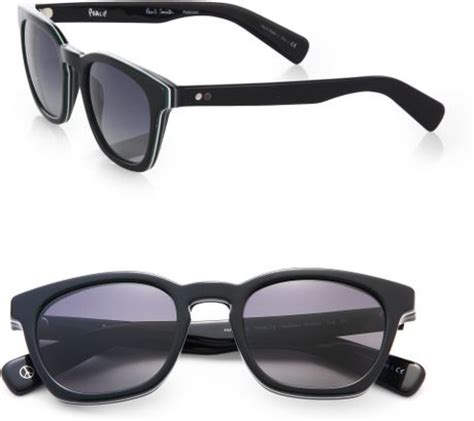 paul smith rockley wayfarer sunglasses in black for men | lyst