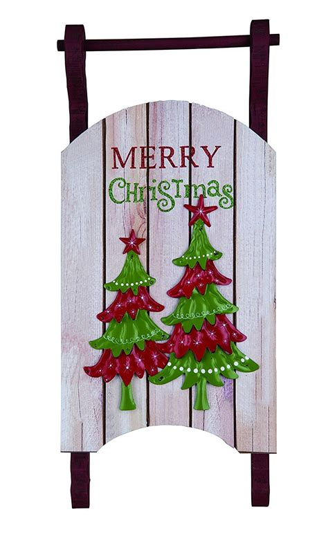 large rustic wooden holiday sleigh wall hanging christmas