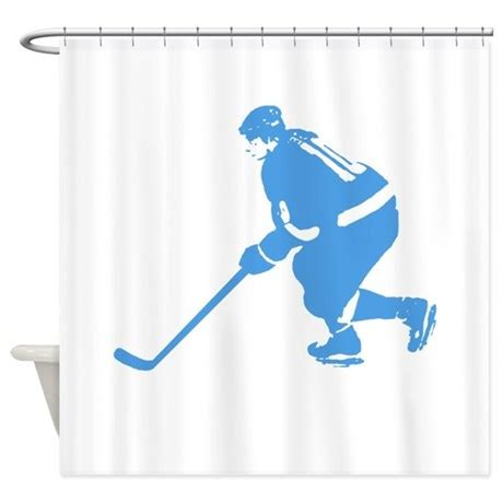 ice blue curtains blue ice hockey player shower curtain by kevssports