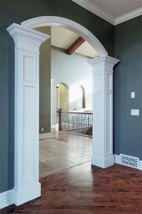 Pillar detail from living to dining room traditional living room calgary by veranda