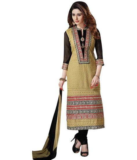 Fatiya Dress fatiha fashion beige cotton unstitched dress material