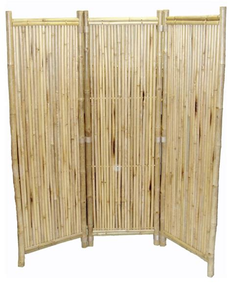 Bamboo 3 Panel Screen Small Round Sticks Tropical Bamboo Room Divider