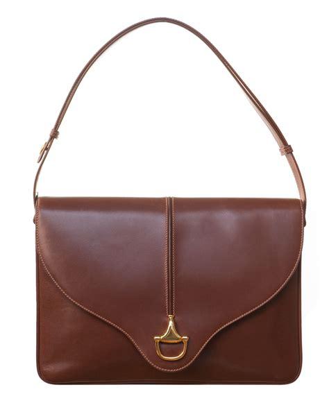 Guc Ci Leather Brown gucci brown leather horsebit flap shoulder bag la doyenne