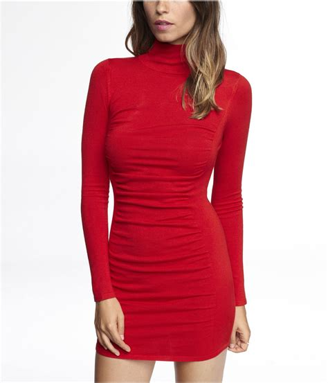 fashionn enthusiast sweater shop here fashion express mock neck ruched sweater dress in red tibetan red
