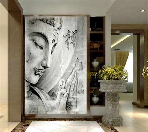hd print white religion buddha painting on canvas wall