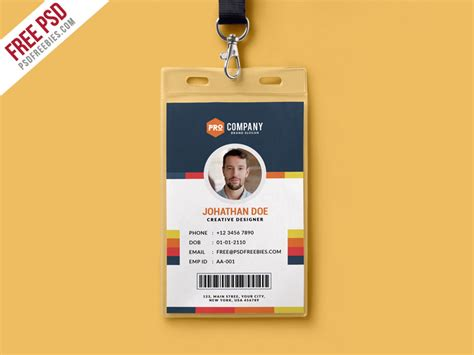 Officer Id Card Templates by Free Psd Creative Office Identity Card Template Psd By