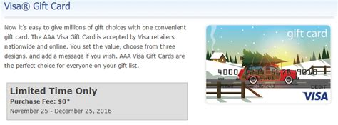 visa gift card fine print fee free visa gift cards for aaa members select areas