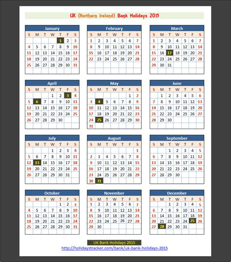 printable uk calendar 2015 with bank holidays uk bank holidays 2015 holidays tracker
