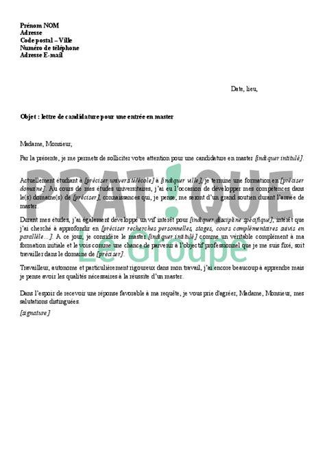Lettre De Motivation De Famille D Accueil Lettre De Candidature Pour Une Entr 233 E En Master Pratique Fr