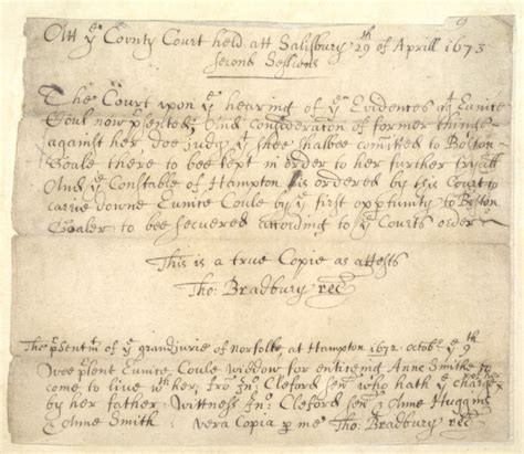 Massachusetts Court Records Database File Eunice Cole Court Record 1673 Png Wikimedia Commons